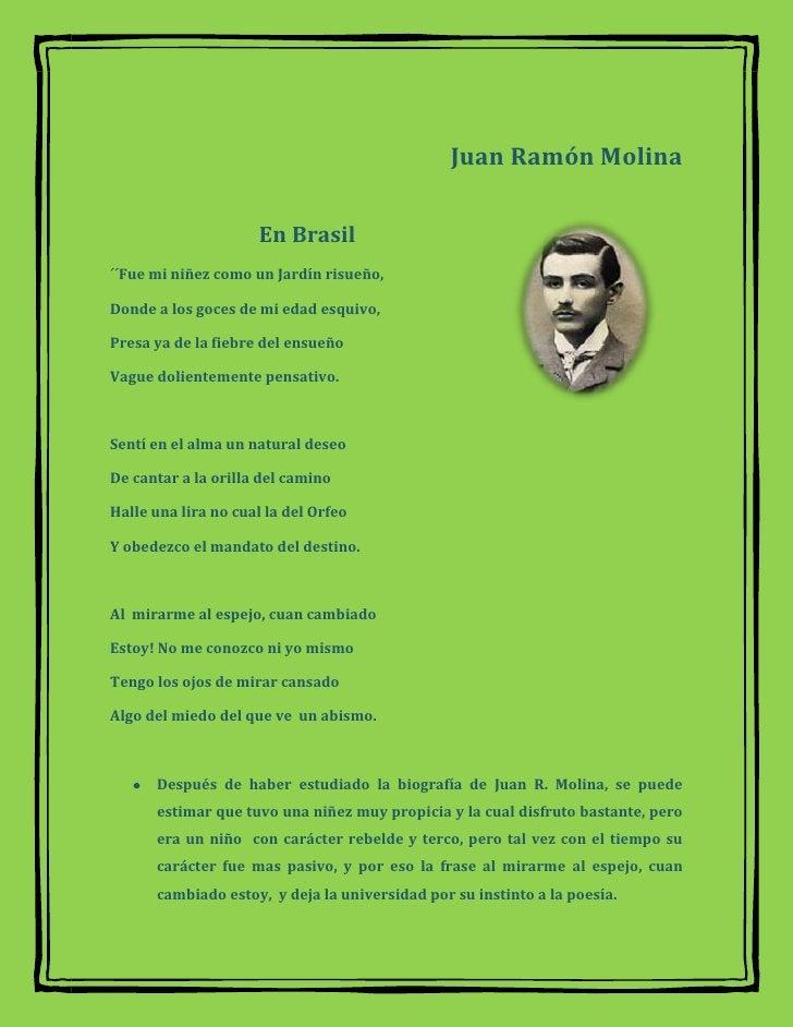 Juan Ramón Molina<br />3949065284480<br />                             En Brasil <br />´´Fue mi niñez como un Jardín risue...