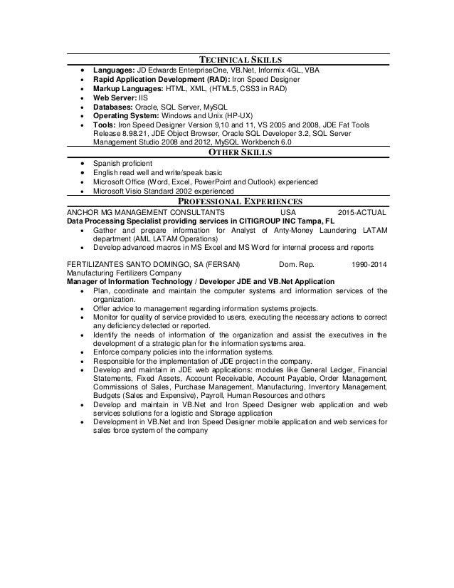 resume jd edwards