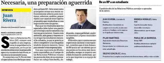 El Financiero entrevista a Juan Rivera: Claves de un buen consultor de comunicación