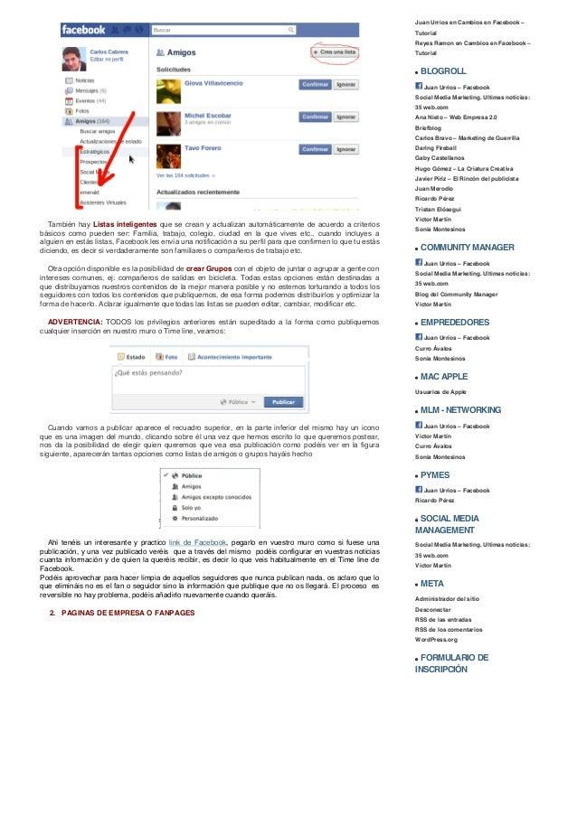 Juan urrios » cambios en facebook – tutorial Slide 2