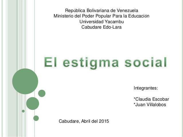 República Bolivariana de Venezuela Ministerio del Poder Popular Para la Educación Universidad Yacambu Cabudare Edo-Lara In...