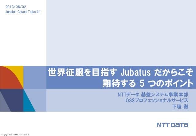Copyright © 2013 NTT DATA Corporation2013/06/02Jubatus Casual Talks #1NTTデータ 基盤システム事業本部OSSプロフェッショナルサービス下垣 徹世界征服を目指す Jubatu...