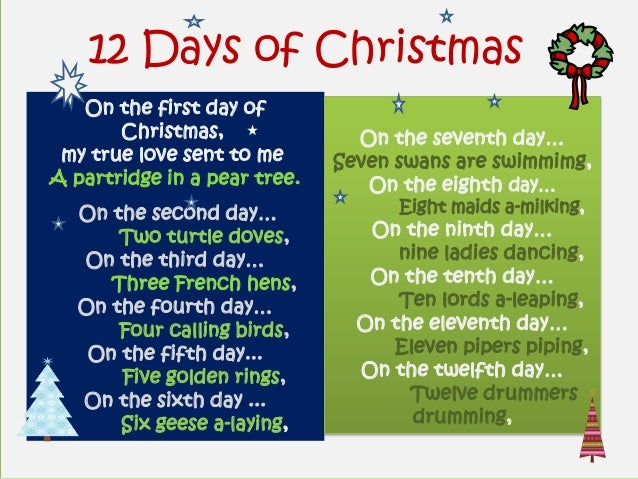 12 Days of Christmas   On the first day of       Christmas,               On the seventh day… my true love sent to me     ...