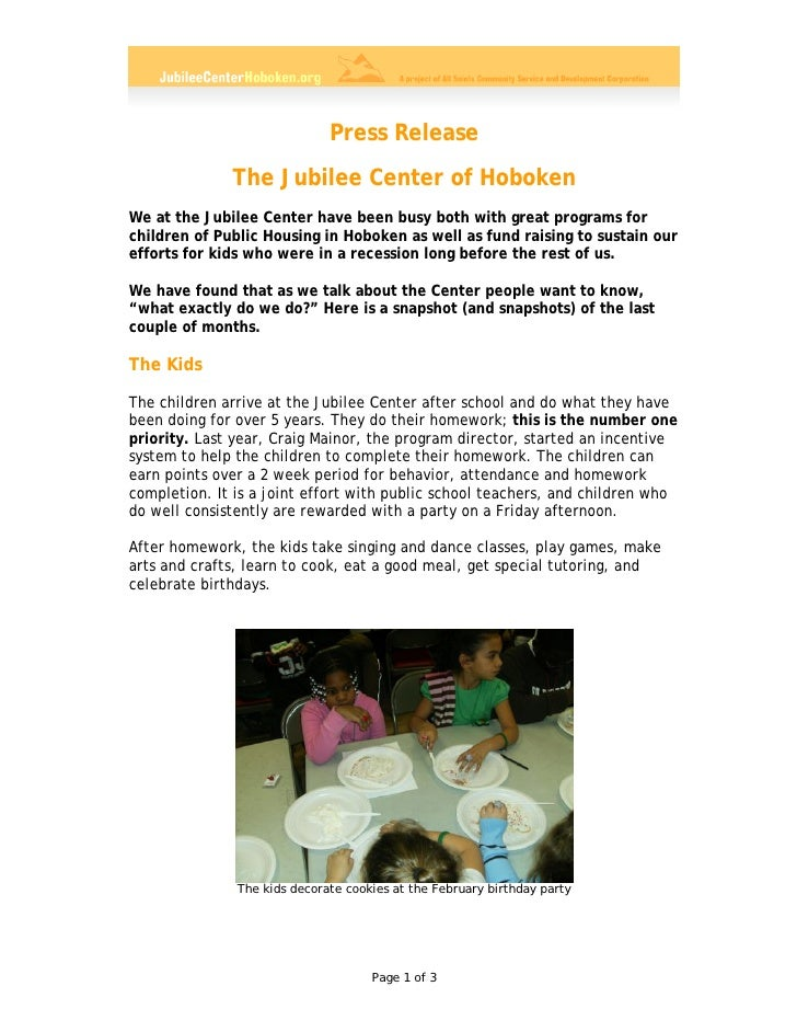 Press Release               The Jubilee Center of Hoboken We at the Jubilee Center have been busy both with great programs...