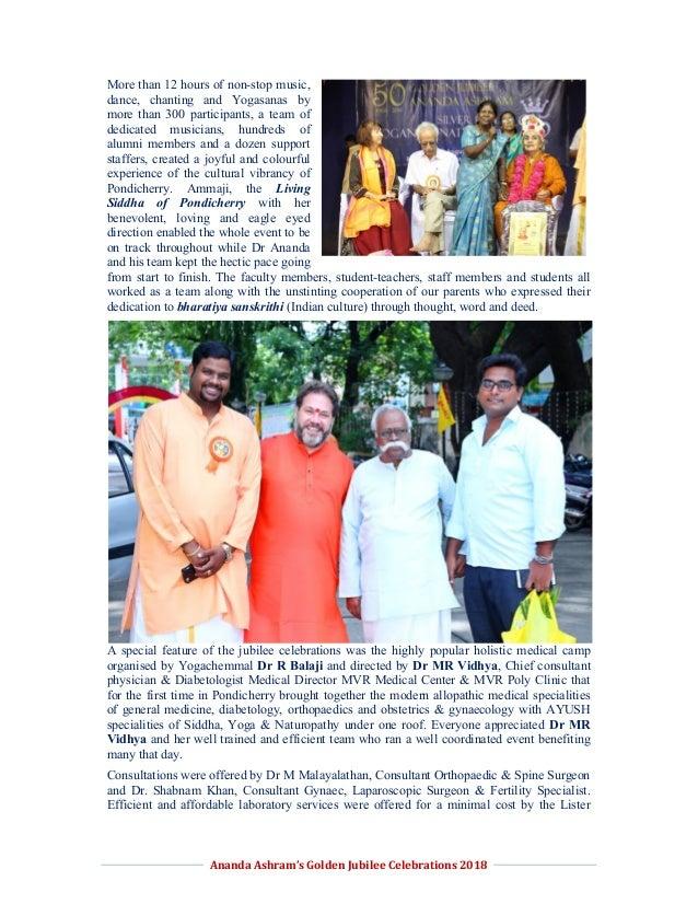 Report on Jubilee Celebrations of Ananda Ashram and YOGNAT 2018 Slide 2