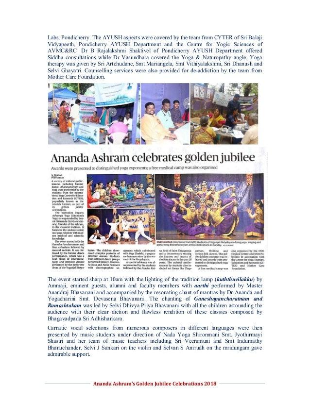 Report on Jubilee Celebrations of Ananda Ashram and YOGNAT 2018 Slide 3