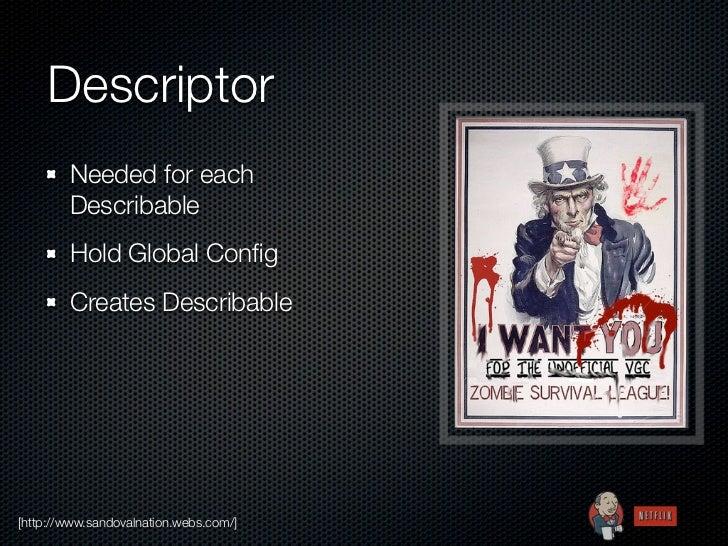 Descriptor        Needed for each        Describable        Hold Global Config        Creates Describable[http://www.sandov...