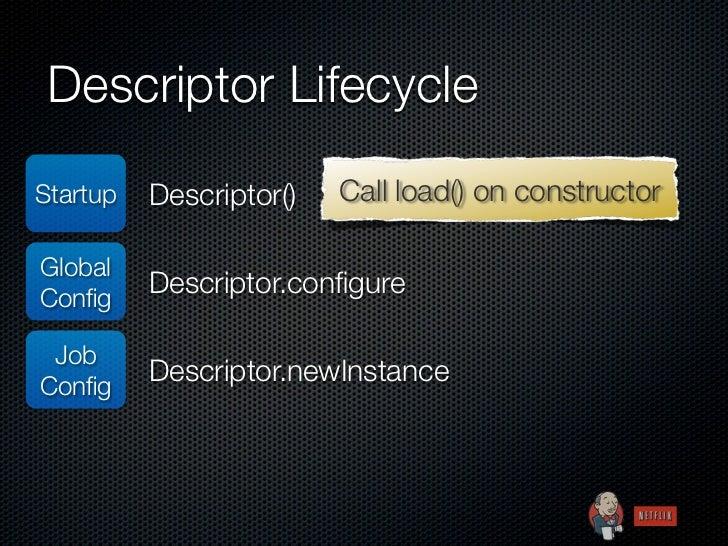 Descriptor LifecycleStartup   Descriptor()   Call load() on constructorGlobalConfig          Descriptor.configure JobConfig  ...
