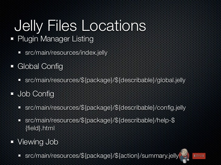 Jelly Files LocationsPlugin Manager Listing  src/main/resources/index.jellyGlobal Config  src/main/resources/${package}/${d...