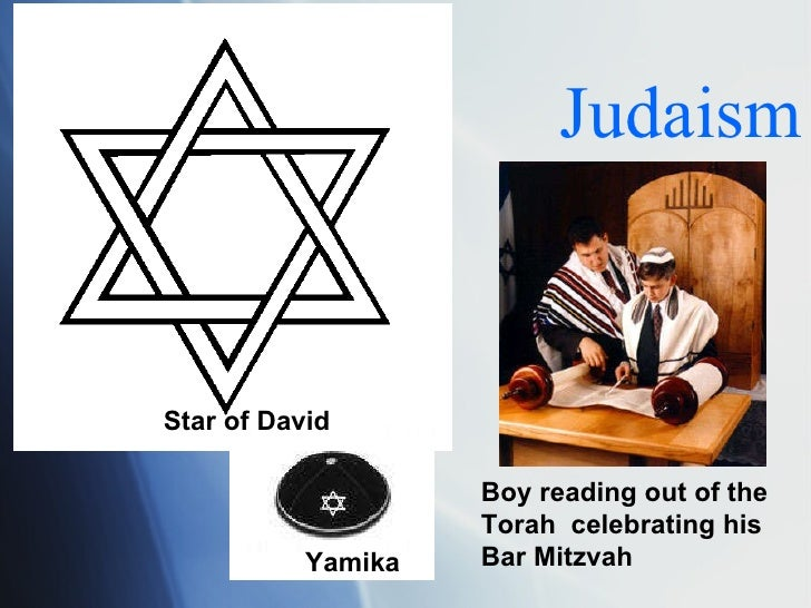Judaism Star of David Yamika Boy reading out of the Torah  celebrating his Bar Mitzvah