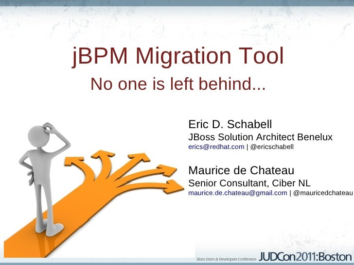 jBPM Migration Tool No one is left behind...              Eric D. Schabell              JBoss Solution Architect Benelux  ...