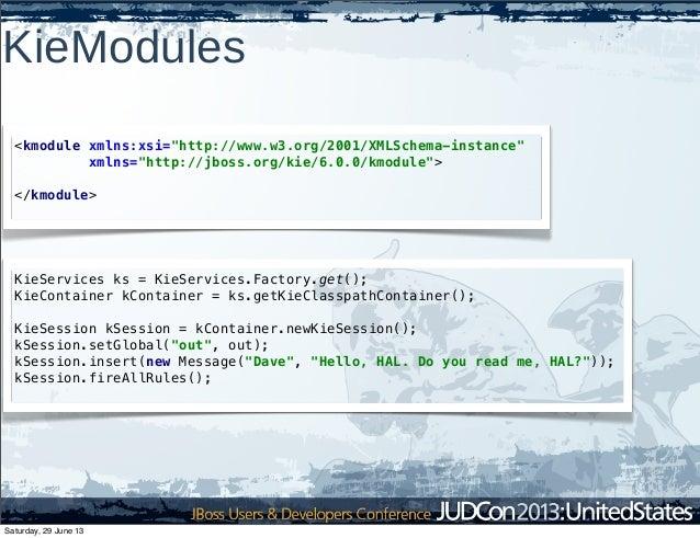 "KieModules <kmodule xmlns:xsi=""http://www.w3.org/2001/XMLSchema-instance"" xmlns=""http://jboss.org/kie/6.0.0/kmodule""> </km..."