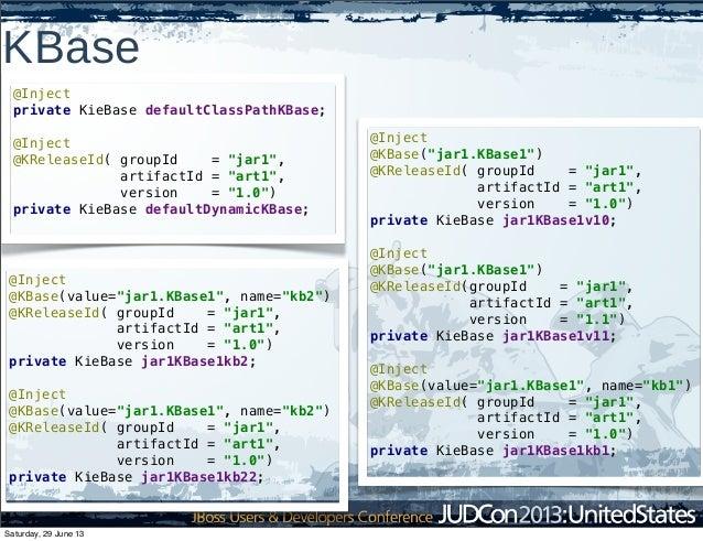 "KBase @Inject @KBase(value=""jar1.KBase1"", name=""kb2"") @KReleaseId( groupId = ""jar1"", artifactId = ""art1"", version = ""1.0"")..."