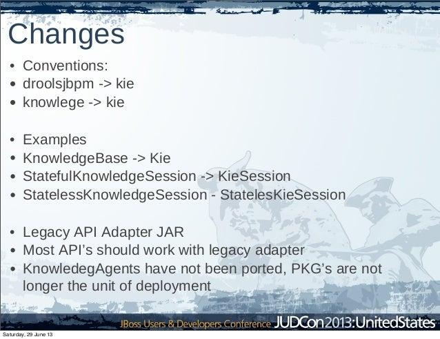 Changes • Conventions: • droolsjbpm -> kie • knowlege -> kie • Examples • KnowledgeBase -> Kie • StatefulKnowledgeSession ...