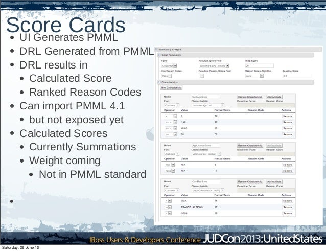 Score Cards• UI Generates PMML • DRL Generated from PMML • DRL results in • Calculated Score • Ranked Reason Codes • Can i...