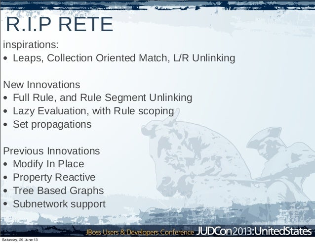 R.I.P RETE inspirations: • Leaps, Collection Oriented Match, L/R Unlinking New Innovations • Full Rule, and Rule Segment U...