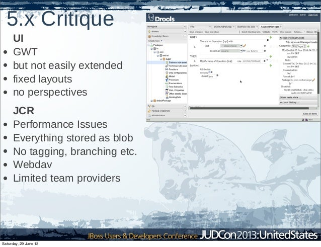 5.x Critique UI • GWT • but not easily extended • fixed layouts • no perspectives JCR • Performance Issues • Everything st...