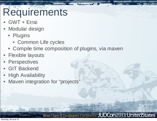 Requirements • GWT + Errai • Modular design • Plugins • Common Life cycles • Compile time composition of plugins, via mave...