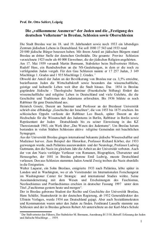 """Prof. Dr. Otto Seifert, Leipzig Die """"vollkommene Ausmerze"""" der Juden und die """"Festigung des deutschen Volkstums"""" in Bresla..."""