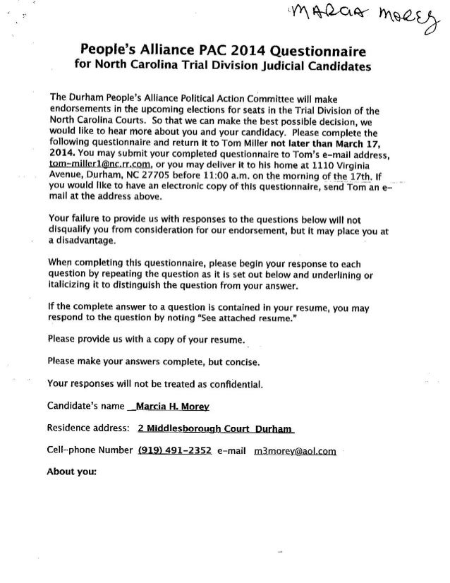 Marcia Morey 2014 PA-PAC Questionnaire