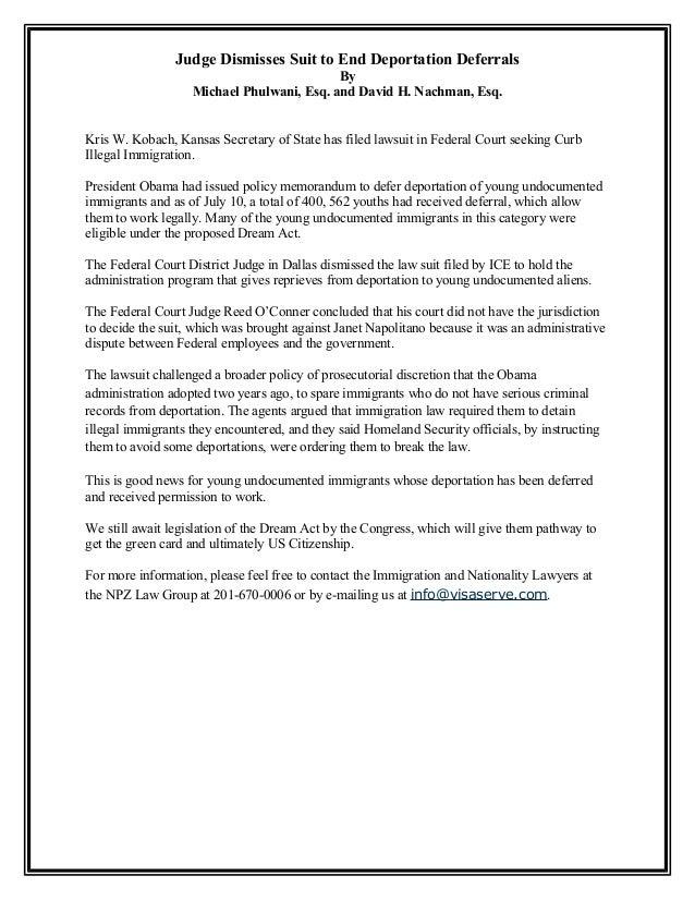 Judge Dismisses Suit to End Deportation Deferrals By Michael Phulwani, Esq. and David H. Nachman, Esq. Kris W. Kobach, Kan...