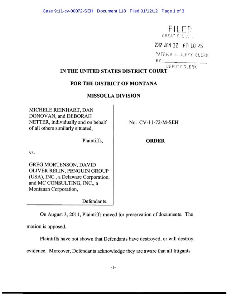 Case 9:11-cv-00072-SEH Document 118 Filed 01/12/12 Page 1 of 3                                                            ...