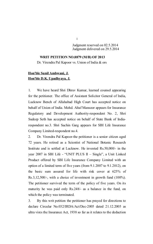 1 Judgment reserved on 02.5.2014 Judgment delivered on 29.5.2014 WRIT PETITION NO.8879 (M/B) OF 2013 Dr. Virendra Pal Kapo...