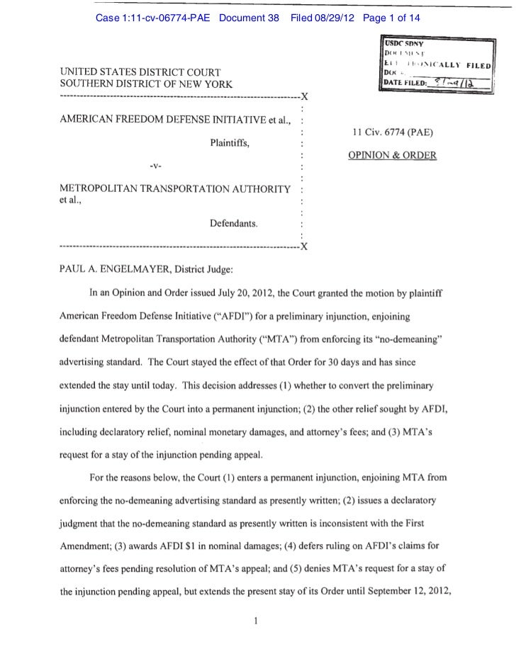 Case 1:11-cv-06774-PAE Document 38   Filed 08/29/12 Page 1 of 14