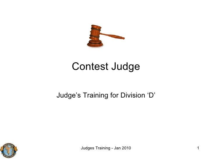 Contest Judge Judge's Training for Division 'D'