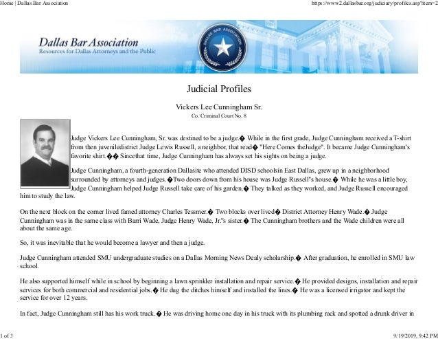 Judicial Profiles Vickers Lee Cunningham Sr. Co. Criminal Court No. 8 Judge Vickers Lee Cunningham, Sr. was destined to be...