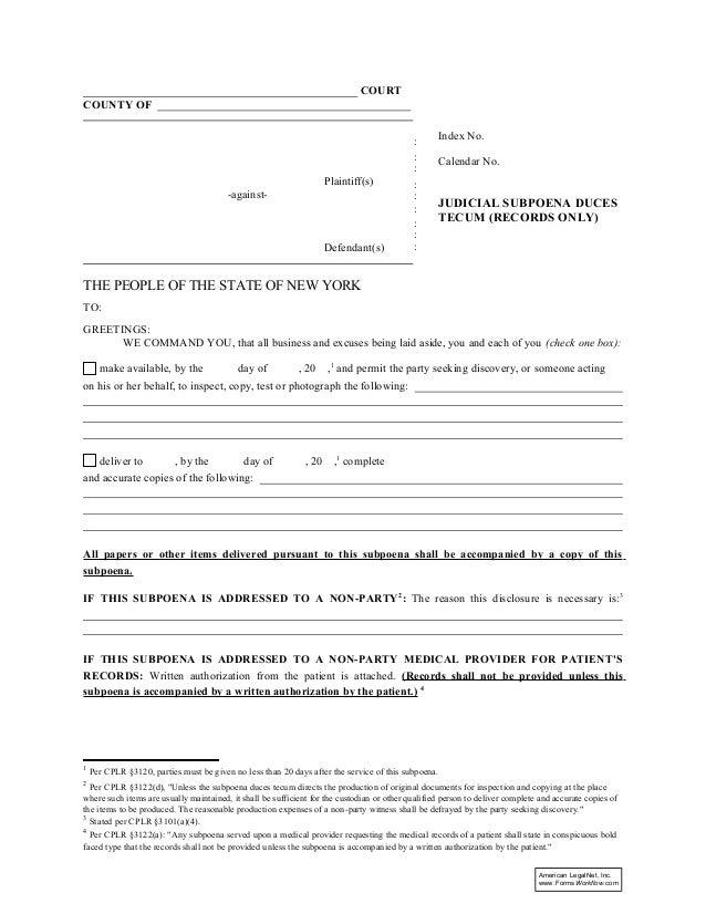 Judicial subpoena-duces-tecum-(records-only)