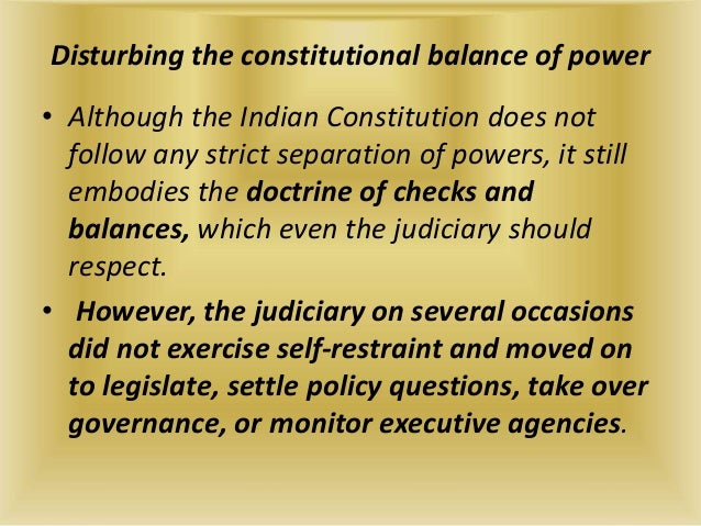 judicial activism and indian democracy Judicial activism is different from the judicial review or other process of jurisdiction in the sense that under the gamut of judicial review the judiciary can extend its influence to the spheres of executive and the legislative.