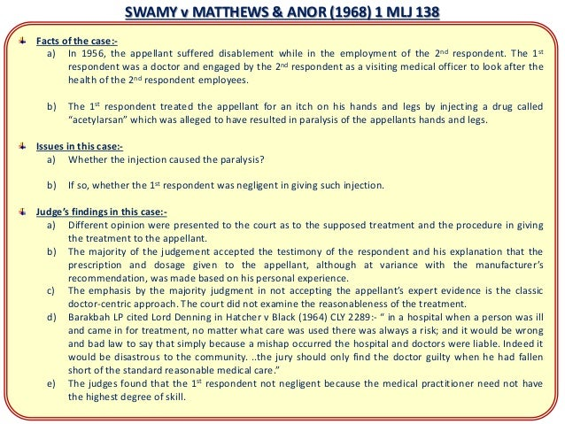 medical negligence in malaysia essay Medical negligence tort law of negligence essay 1556 words | 7 pages negligence paper 1087 words gender equality in malaysia bartlebycom.