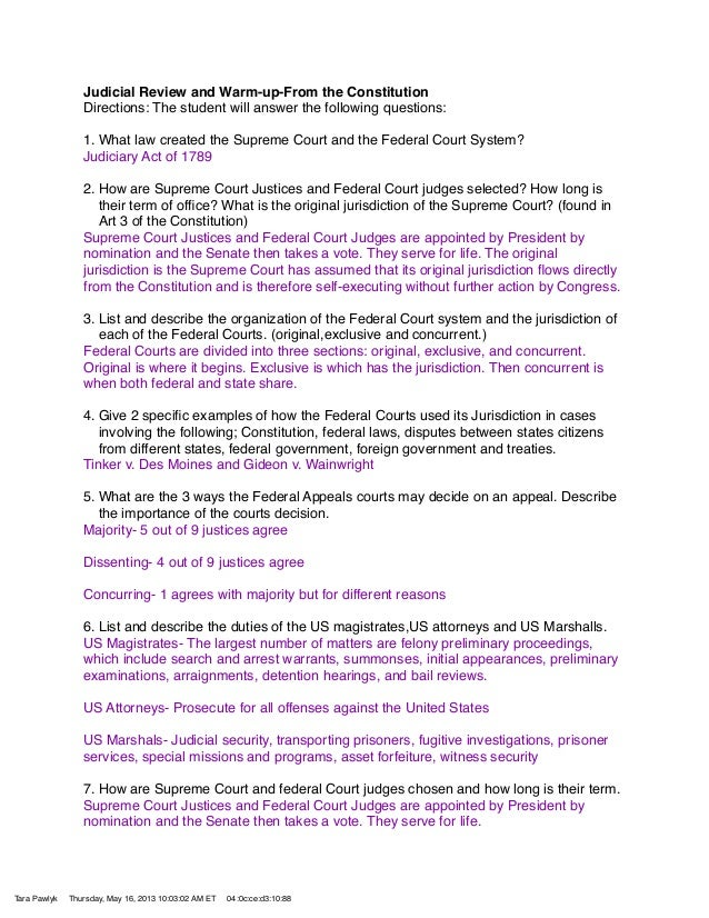 Judicial Review and Warm-up-From the ConstitutionDirections: The student will answer the following questions:1. What law c...