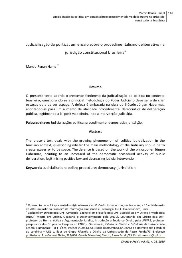Marcio Renan Hamel Judicialização da política: um ensaio sobre o procedimentalismo deliberativo na jurisdição constitucion...