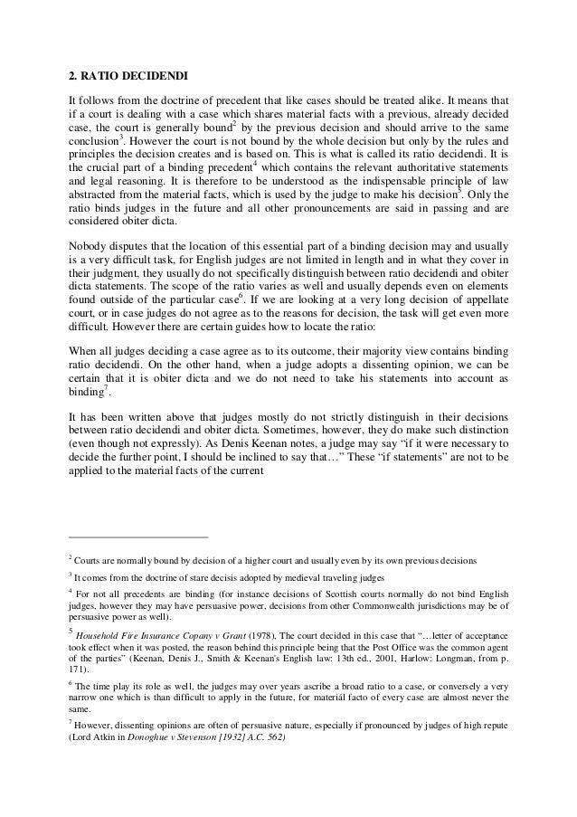 Judicial precedent essay