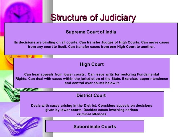 judiciary of india In this article, the judiciary system of india is discussed with the emphasis on the  hierarchy of indian courts and the justice system in india.