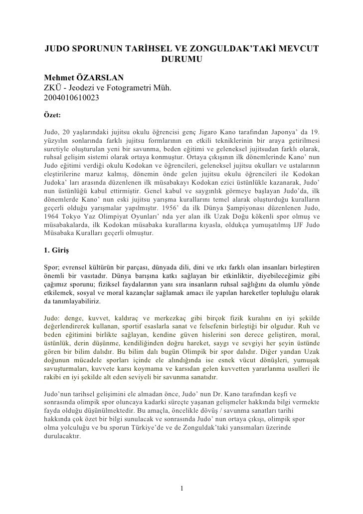 JUDO SPORUNUN TARİHSEL VE ZONGULDAK'TAKİ MEVCUT                    DURUMUMehmet ÖZARSLANZKÜ - Jeodezi ve Fotogrametri Müh....