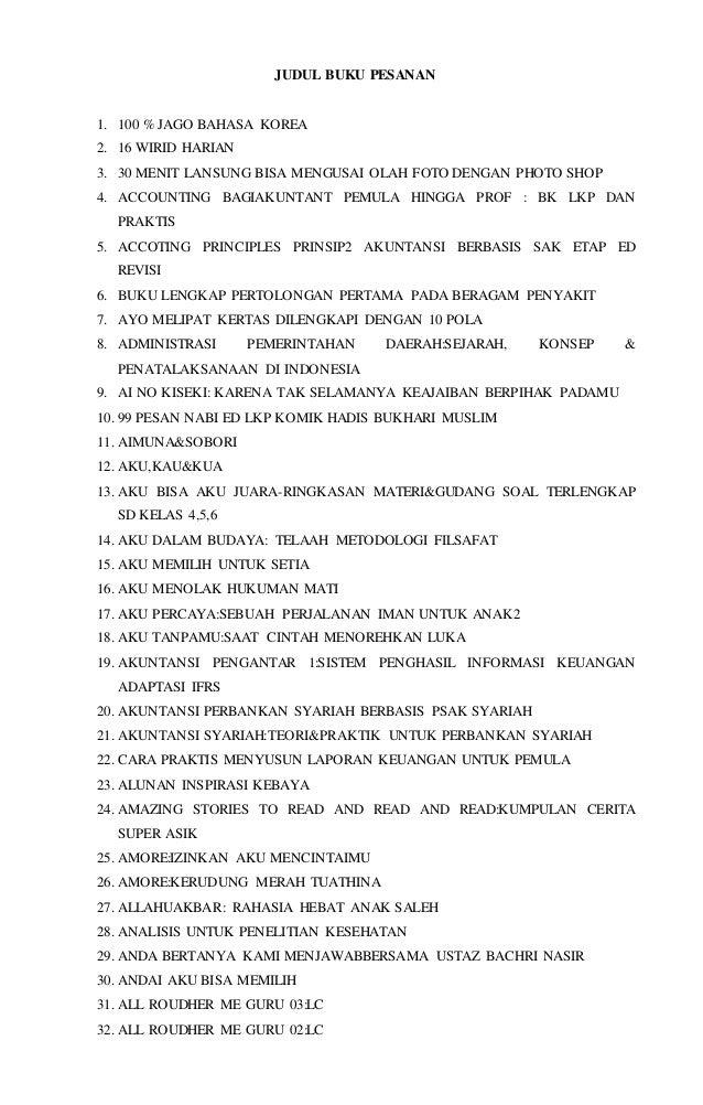 JUDUL BUKU PESANAN  1. 100 % JAGO BAHASA KOREA  2. 16 WIRID HARIAN  3. 30 MENIT LANSUNG BISA MENGUSAI OLAH FOTO DENGAN PHO...