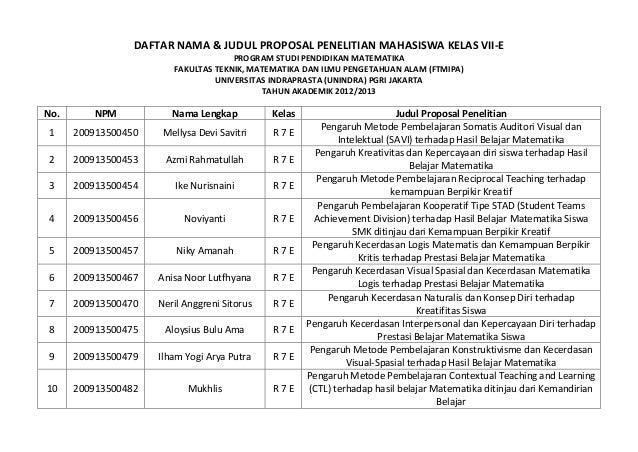 DAFTAR NAMA & JUDUL PROPOSAL PENELITIAN MAHASISWA KELAS VII-E                                     PROGRAM STUDI PENDIDIKAN...