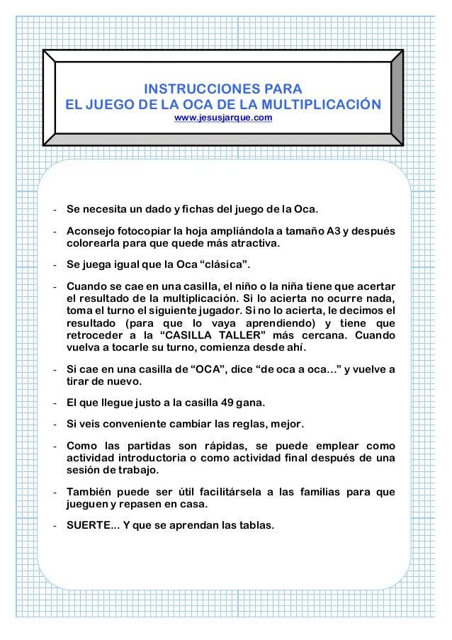 Juego De La Oca Ejercicios De Multiplacion