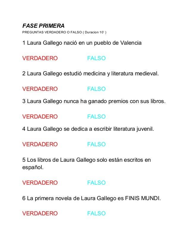 Juego De Verdadero O Falso De Laura Gallego