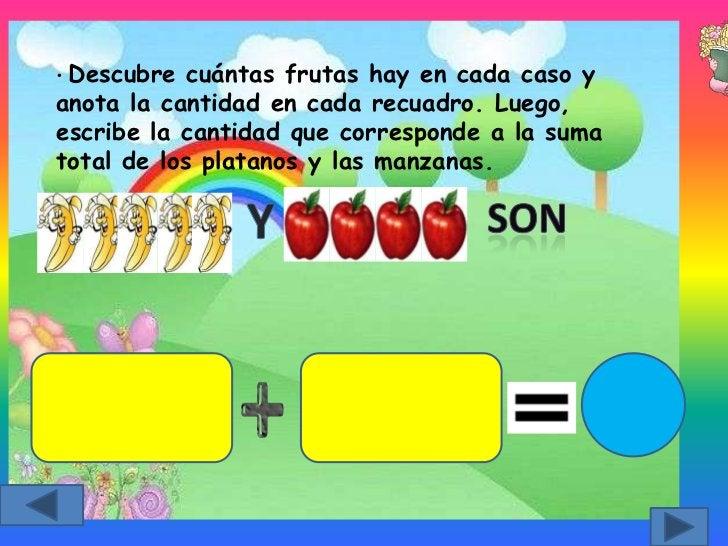 • Descubre  cuántas frutas hay en cada caso yanota la cantidad en cada recuadro. Luego,escribe la cantidad que corresponde...
