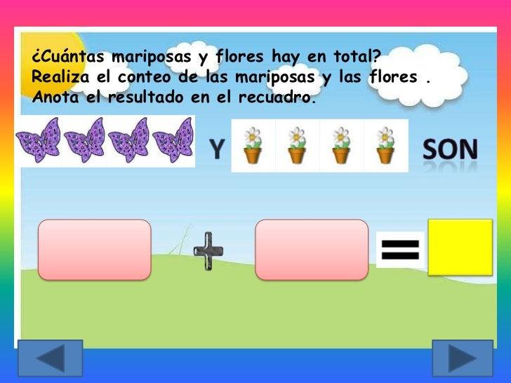 ¿Cuántas mariposas y flores hay en total?Realiza el conteo de las mariposas y las flores .Anota el resultado en el recuadro.