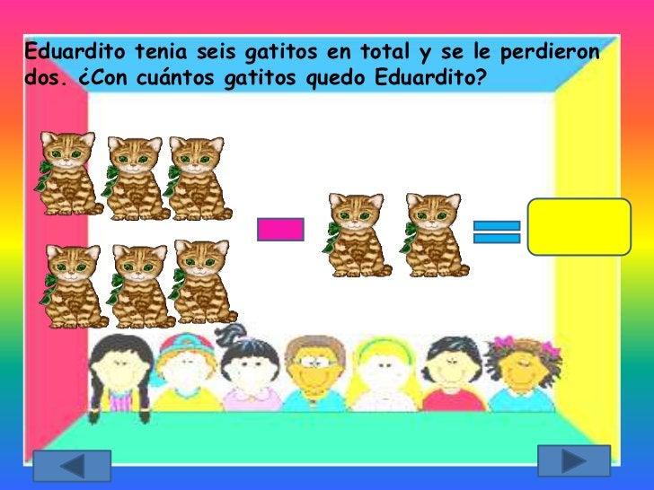 Eduardito tenia seis gatitos en total y se le perdierondos. ¿Con cuántos gatitos quedo Eduardito?