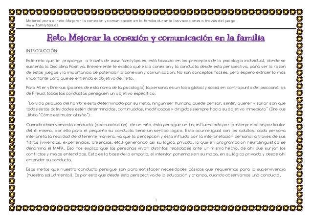 Material para el reto: Mejorar la conexión y comunicación en la familia durante las vacaciones a través del juego www.fami...