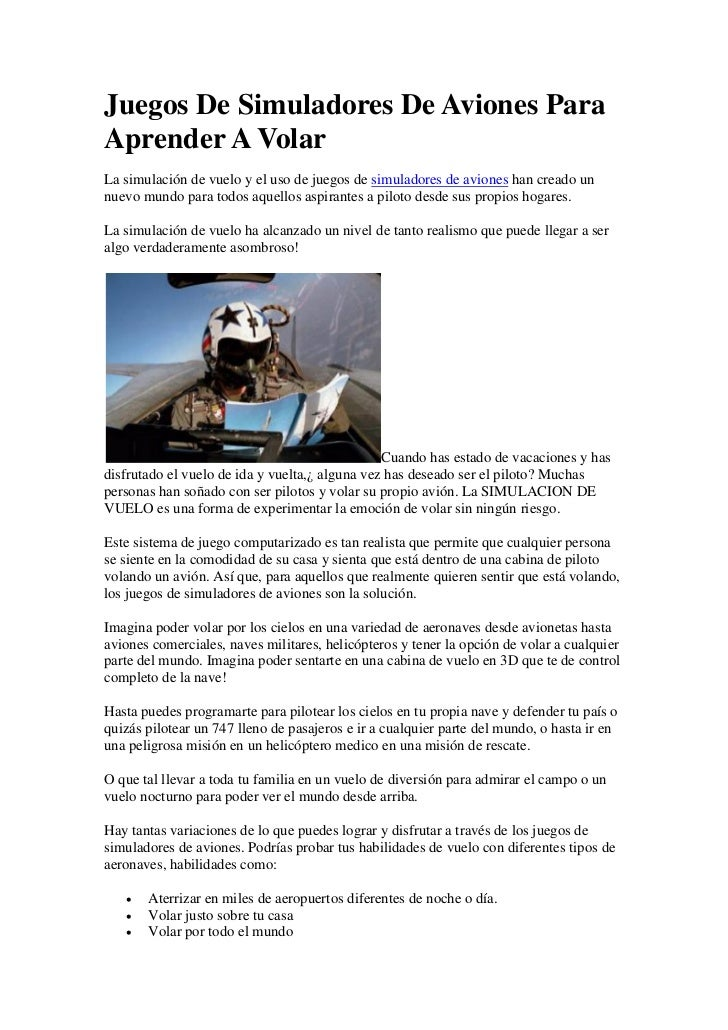 Juegos De Simuladores De Aviones ParaAprender A VolarLa simulación de vuelo y el uso de juegos de simuladores de aviones h...