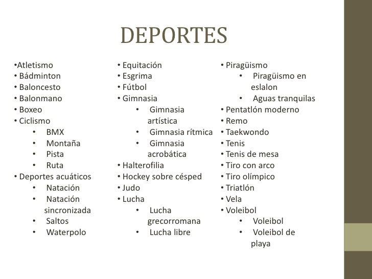 Los Deportes Y Los Juegos En Inglés En Listas E Imágenes: Juegos Olimpicos De Londres 2012