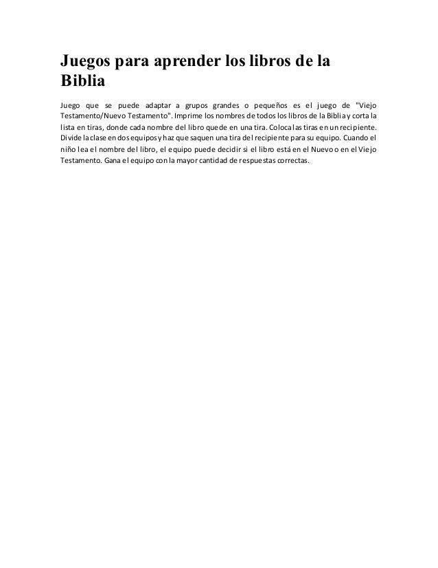 Juegos Para Aprender Los Libros De La Biblia
