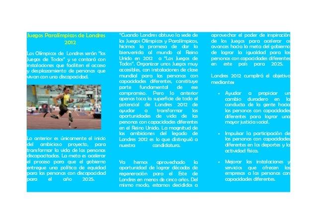 """Juegos Paralímpicos de Londres 2012 Los Olímpicos de Londres serán """"los Juegos de Todos"""" y se contará con instalaciones qu..."""